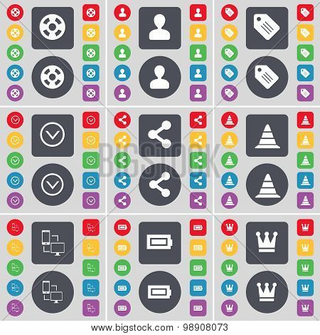 Videotape, Avatar, Tag, Arrow Down, Share, Cone, Connection, Battery, Crown Icon Symbol. A Large Set