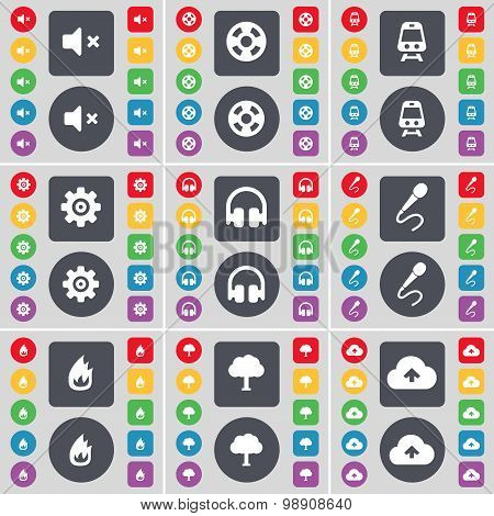 Mute, Videotape, Train, Gear, Headphones, Microphone, Fire, Tree, Cloud Icon Symbol. A Large Set Of