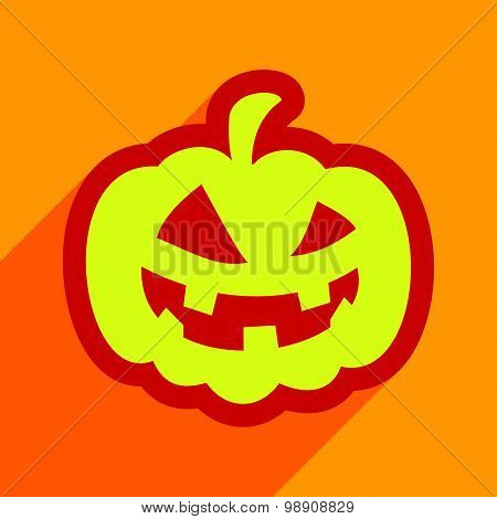 Flat with shadow icon and mobile application pumpkin