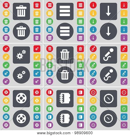 Trash Can, Apps, Arrow Down, Gear, Trash Can, Microphone, Videotape, Notebook, Compass Icon Symbol.