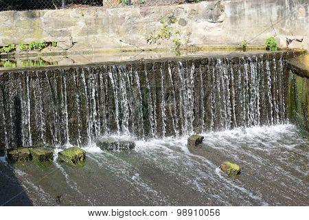 water over a spillway