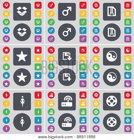 Dropbox, Mars Symbol, Zip File, Star, Floppy, Yin-yang, Silhouette, Router, Videotape Icon Symbol. A