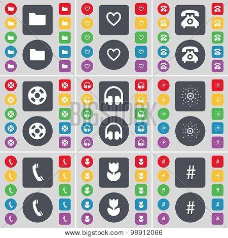 Folder, Heart, Retro Phone, Videotape, Headphones, Star, Receiver, Flower, Hashtag Icon Symbol. A La