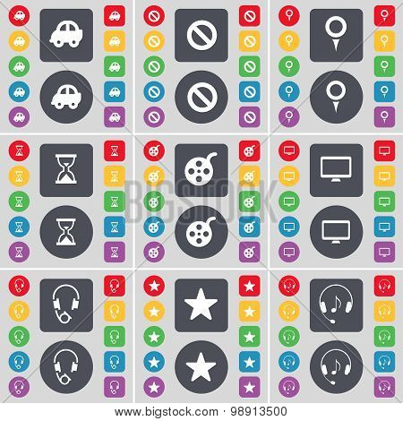 Car, Stop, Checkpoint, Hourglass, Videotape, Monitor, Headphones, Star Icon Symbol. A Large Set Of F