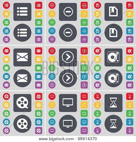 List, Minus, File, Message, Arrow Right, Gramophone, Videotape, Monitor, Hourglass Icon Symbol. A La