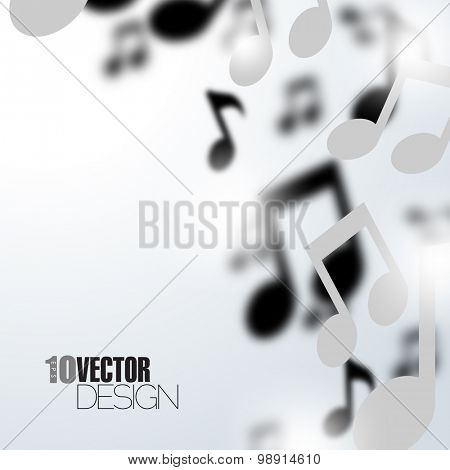 Random floating music notes with depth of field effect artistic eps10 vector background