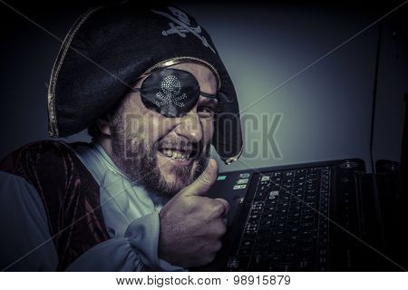 Robbery, computer security, hacker pirate dress with hat and skull poster