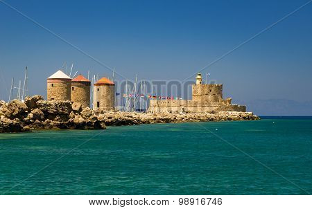 Traditional Windmill At Mandraki Harbour, Rhodes