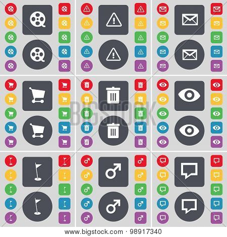 Videotape, Warning, Message, Shopping Cart, Trash Can, Vision, Golf Hole, Mars Symbol, Chat Bubble I