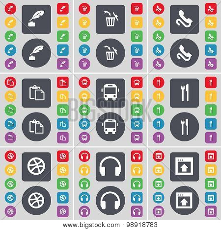 Ink Pot, Trash Can, Receiver, Survey, Bus, Fork And Knife, Ball, Headphones, Window Icon Symbol. A L