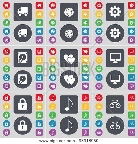 Truck, Pizza, Gear, Hard Drive, Heart, Monitor, Lock, Note, Bicycle Icon Symbol. A Large Set Of Flat