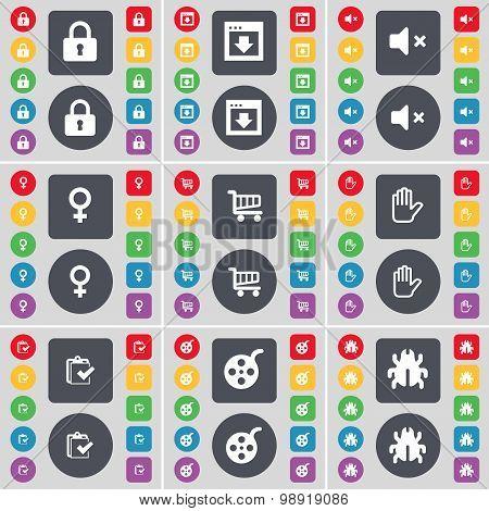 Lock, Window, Mute, Venus Symbol, Shopping Cart, Hand, Survey, Videotape, Bug Icon Symbol. A Large S