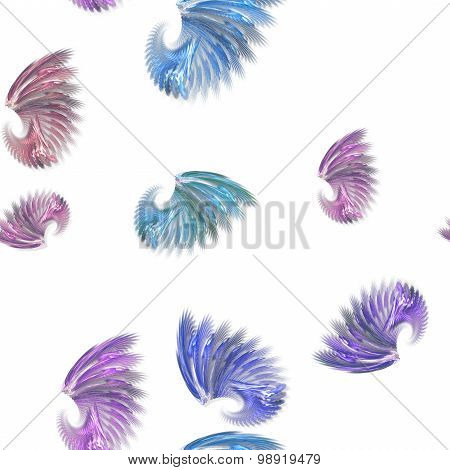 Seamless Colorful Fractal Shapes Pattern On White