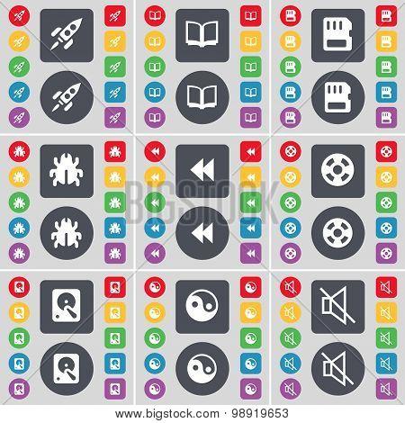 Rocket, Book, Sim Card, Bug, Rewind, Videotape, Hard Drive, Yin-yang, Mute Icon Symbol. A Large Set