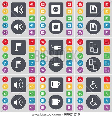 Sound, Socket, File, Golf Hole, Socket, Connection, Sound, Cup, Disabled Person Icon Symbol. A Large