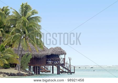Reef Bungalows Over Tropical Coral Reef