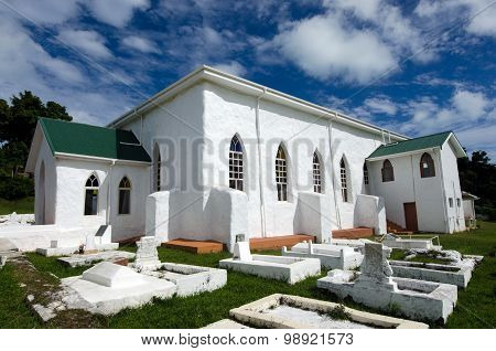 AITUTAKI, COOK ISLANDS - SEP 20: Aitutaki Cook Islands Christian Church (CICC) on Sep 20, 2013. Aitutaki people were the first to accept Christianity and It's the oldest church in Cook Island.