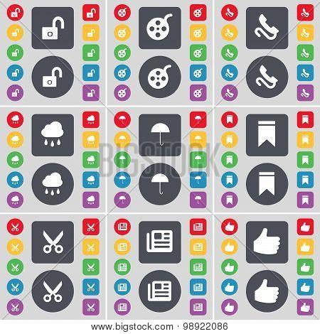 Lock, Videotape, Receiver, Cloud, Umbrella, Marker, Scissors, Newspaper, Like Icon Symbol. A Large S