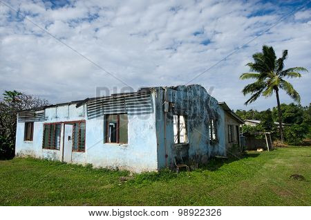 AITUTAKI, COOK ISLANDS - SEP 20: Destroyed house from Cyclone Pat on Sep 20 2013. It strike the island on Feb 10 2010. It's one of the biggest cyclones to hit the area in 20 years.Damage was estimated at NZ$15 million.