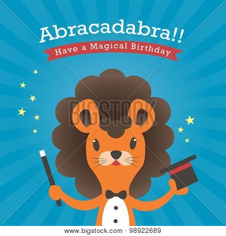 Happy Birthday Card With Lion Cartoon Abracadabra