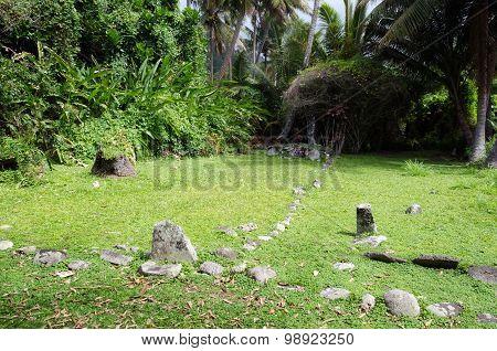 RAROTONGA, COOK ISLANDS - SEP 21: Arai Te Tonga Marae on Sep 21 2013. It's the most sacred site in Rarotonga Island. The circa dated 1250 AD.