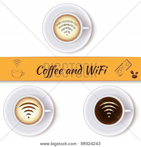 Coffee cups and wifi symbol