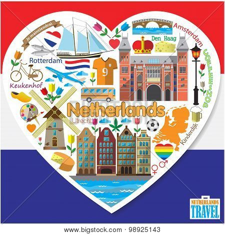 Netherlands Love.set Colored Flat Vector Icons And Symbols Of Landmarks In Form Of Heart