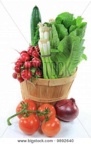 Wodden Bushel Full With Vegetables For Salad.