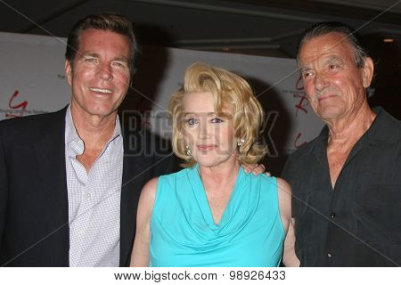 LOS ANGELES - AUG 15:  Peter Bergman, Melody Thomas Scott, Eric Braeden at the