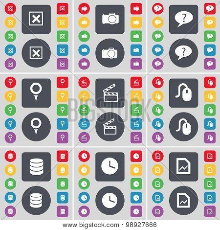 Stop, Camera, Chat Bubble, Checkpoint, Clapper, Mouse, Database, Clock, Graph File Icon Symbol. A La