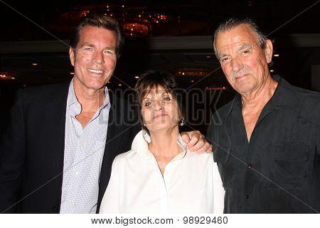 LOS ANGELES - AUG 15:  Peter Bergman, Jill Farren Phelps, Eric Braeden at the