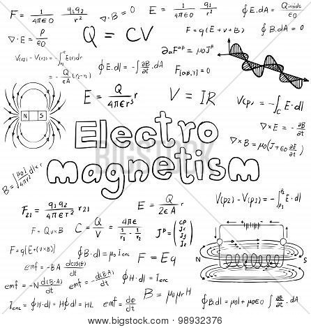 Electromanetism Electric Magnetic  Law Theory And Physics Mathematical Formula Equation, Doodle Hand