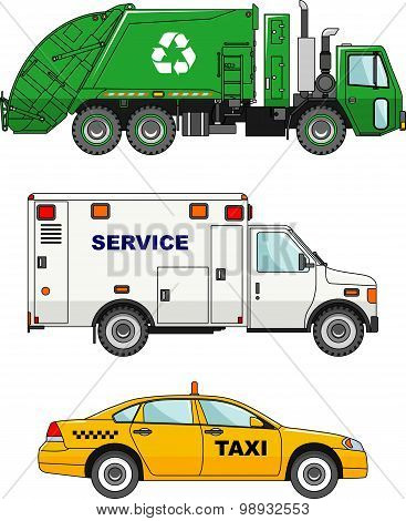 Set of different cars: garbage truck, taxi car and service machine. Vector illustration.