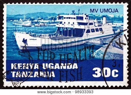 Postage Stamp K., U. And T. 1969 Railroad Ferry Mv Umoja
