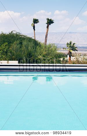 Vertical Swimming Pool With A View Of The Mountains