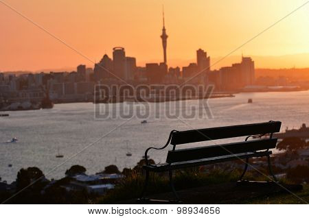 landscape of Auckland downtown skyline during sunset.