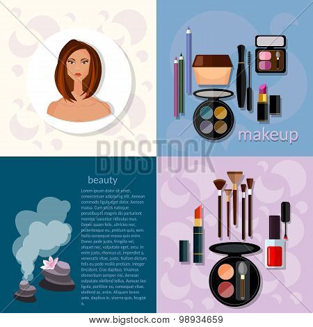 Beauty Fashion Concept Makeup Products Professional Make-up Details Cosmetology Beautiful Woman Face