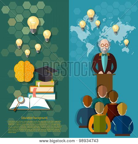 Science And Education Online Education Study Students University College Professor vector banners