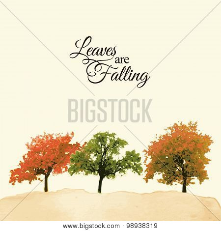 Watercolor Landscape With Colorful Trees, Autumnal, Fall Concept