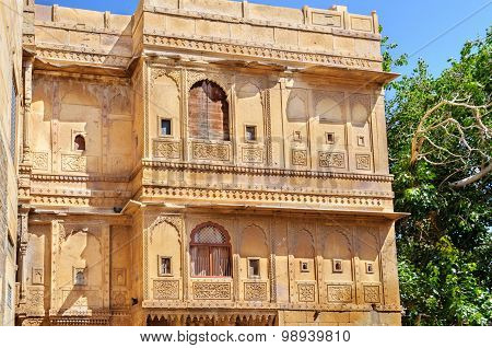 Different Parts of Golden Fort of Jaisalmer Rajasthan India with copy space