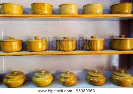 Traditional crockery bowls made of yellow sandstone of Jaisalmer Rajasthan India Asia