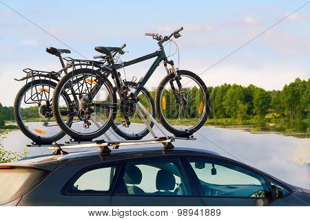 Bikes On Top Of A Car.