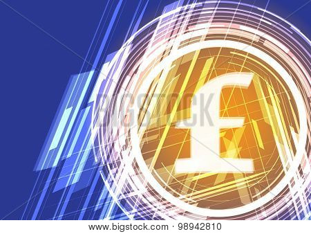 Vector Background Shining Symbol Uk Pound Sterling