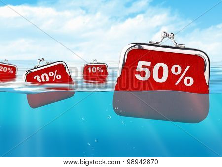 Floating Red Wallets With Number At Ocean, Colorful Discount Concept