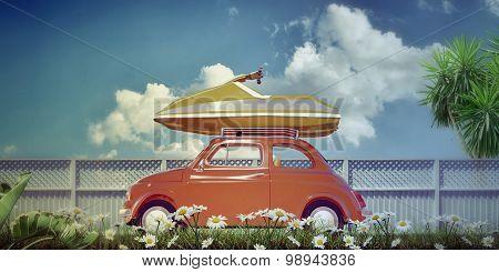 Old Style Car Loading Jetsky On Top