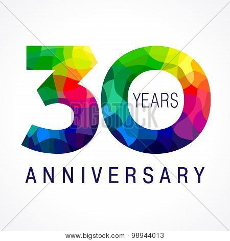 30 years old celebrating colored logo. Anniversary year of 30 th vector template numbers. Happy birthday greetings celebrates. Stained-glass digits of jubilee ages. Mosaic pattern figures in various colors.