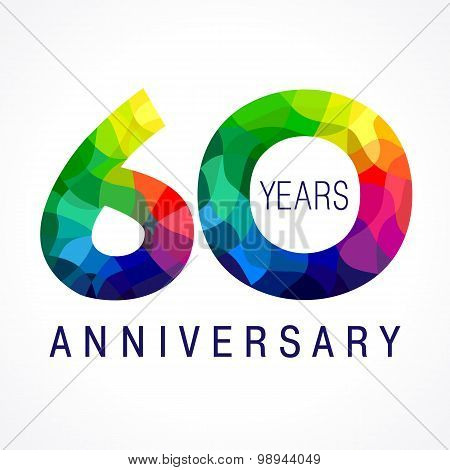 60 years old celebrating colored logo. Anniversary year of 60 th vector template numbers. Happy birthday greetings celebrates. Stained-glass digits of jubilee ages. Mosaic pattern figures in various colors.