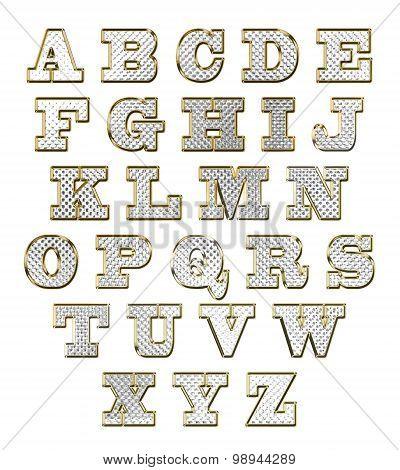 English alphabet gold text vector illustration set