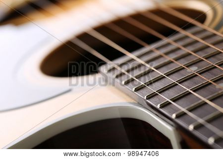 Classic Acoustic Guitar At Weird And Unusual Perspective