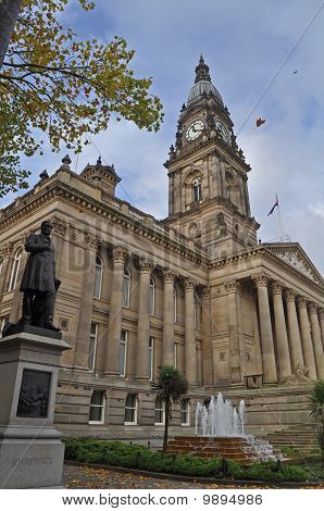 Bolton town hall England in the autumn